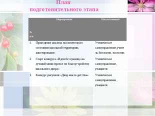 План подготовительного этапа № п/пМероприятиеОтветственный 1.Проведение ан