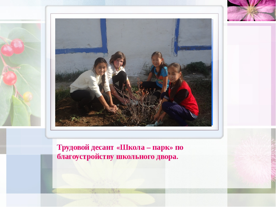 Трудовой десант «Школа – парк» по благоустройству школьного двора.