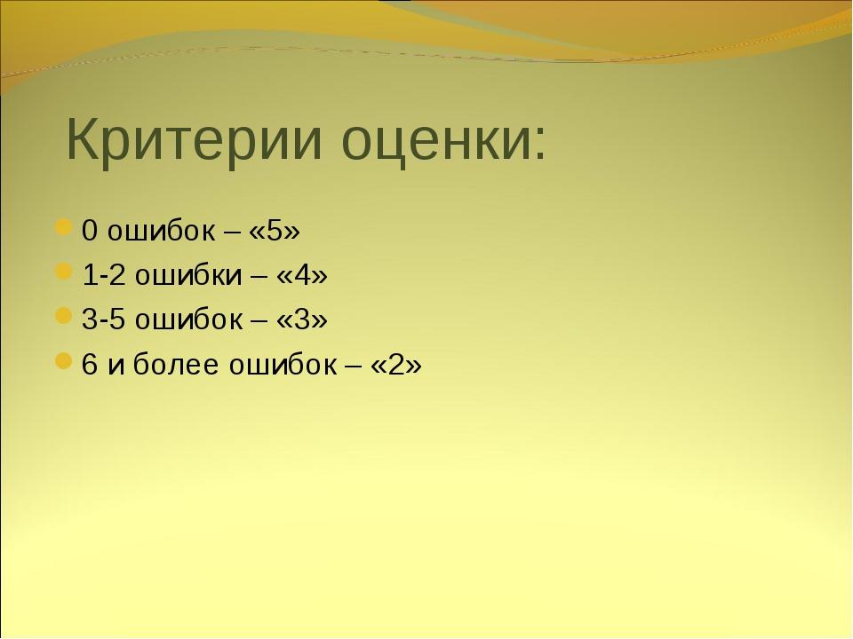 Критерии оценки: 0 ошибок – «5» 1-2 ошибки – «4» 3-5 ошибок – «3» 6 и более о...