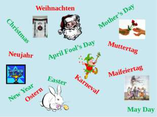 Christmas Easter New Year May Day Mother's Day April Fool's Day Muttertag Mai