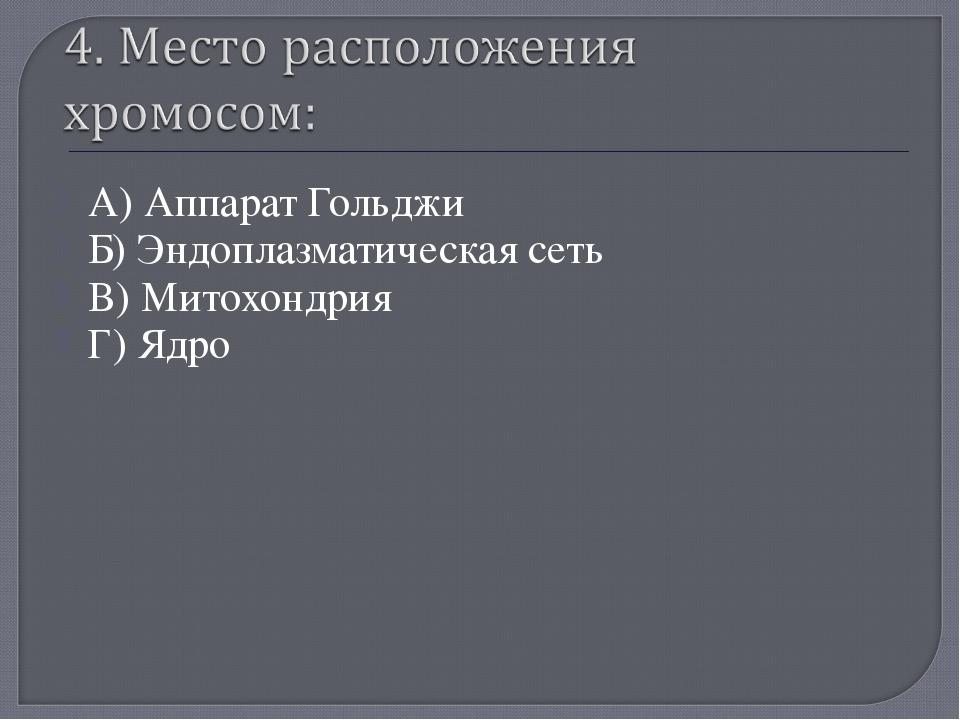 А) Аппарат Гольджи Б) Эндоплазматическая сеть В) Митохондрия Г) Ядро «Мой уни...