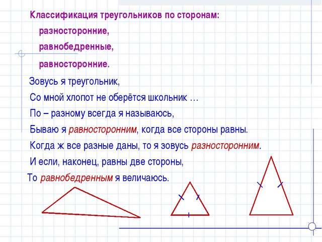Зовусь я треугольник, Со мной хлопот не оберётся школьник … По – разному все...