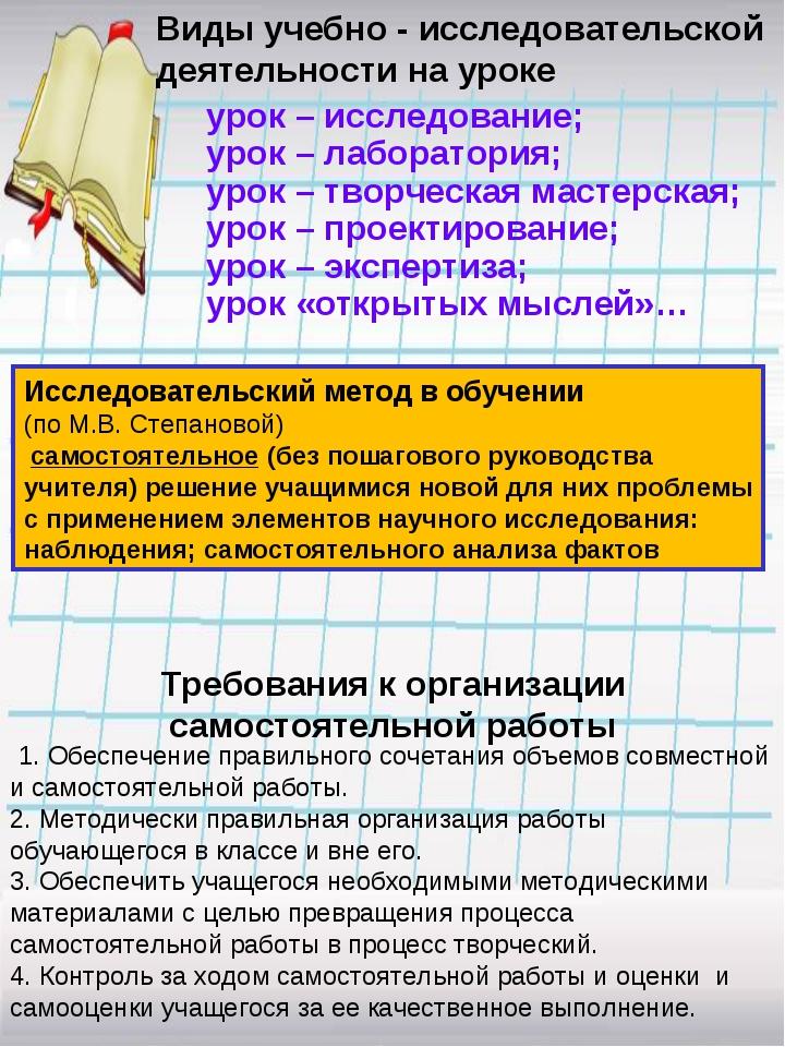 урок – исследование; урок – лаборатория; урок – творческая мастерская; урок...