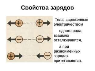 Свойства зарядов Тела, заряженные электричеством одного рода, взаимно отталки