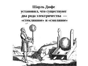Шарль Дюфе установил, что существуют два рода электричества — «стеклянное» и