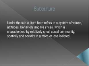 Subculture Under the sub-culture here refers to a system of values, attitudes