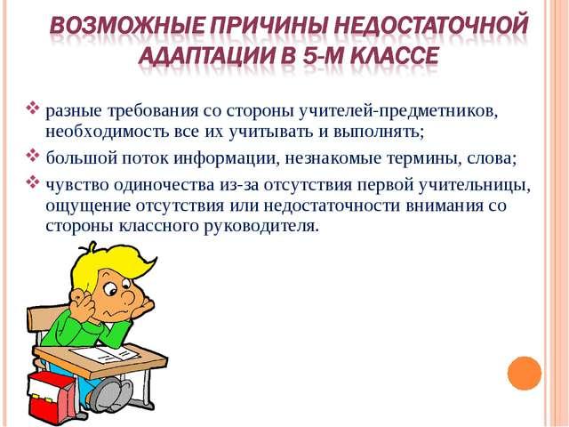 разные требования со стороны учителей-предметников, необходимость все их учит...