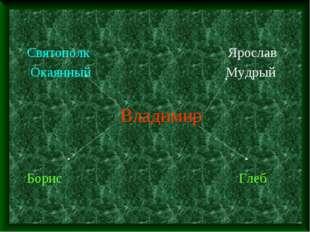 Святополк Ярослав Окаянный Мудрый Владимир Борис Глеб
