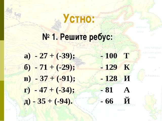 * Устно: № 1. Решите ребус: а) - 27 + (-39); - 100Т б) - 71 + (-29);- 129...