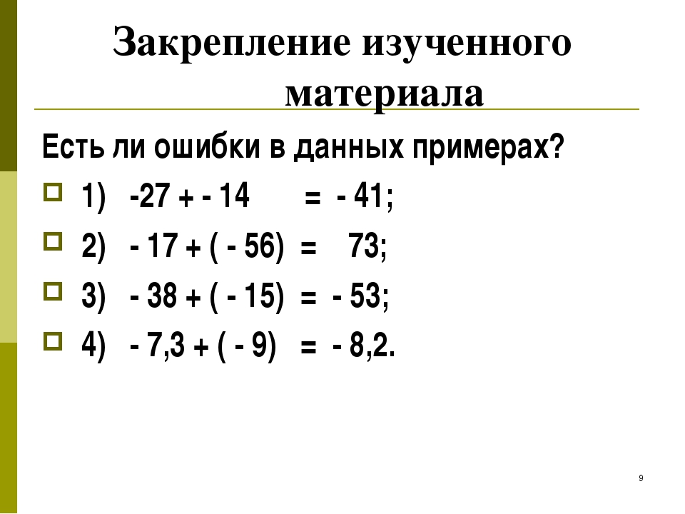 * Закрепление изученного материала Есть ли ошибки в данных примерах? 1) -27 +...