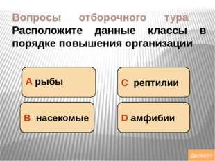 Вопросы отборочного тура Расположите данные классы в порядке повышения органи