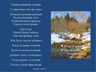 Гонимы вешними лучами, С окрестных гор уже снега Сбежали мутными ручьями На