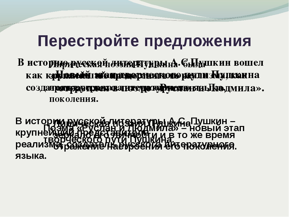 Перестройте предложения В историю русской литературы А.С.Пушкин вошел как кру...