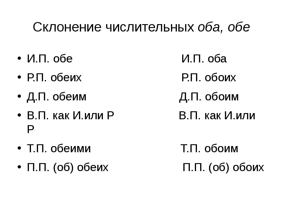 Склонение числительных оба, обе И.П. обе И.П. оба Р.П. обеих Р.П. обоих Д.П....