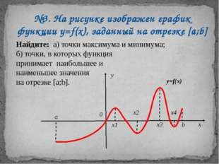 №3. На рисунке изображен график функции у=f(х), заданный на отрезке [a;b] Най