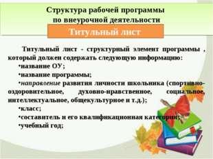 Структура рабочей программы по внеурочной деятельности Титульный лист Титульн