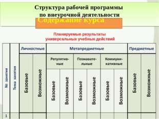 Структура рабочей программы по внеурочной деятельности Содержание курса Плани