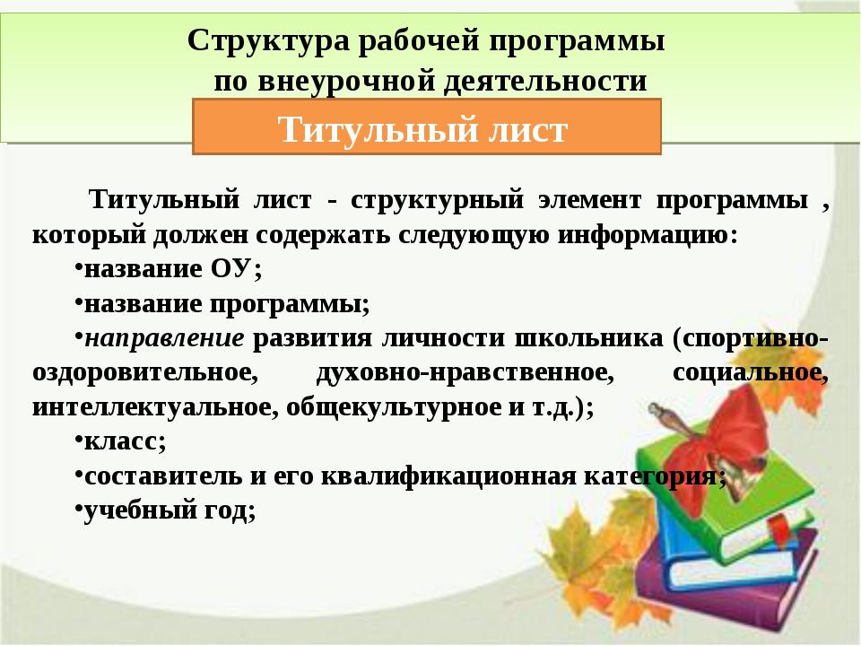 Структура рабочей программы по внеурочной деятельности Титульный лист Титульн...