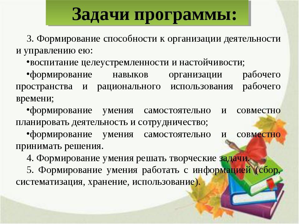 Задачи программы: 3. Формирование способности к организации деятельности и уп...