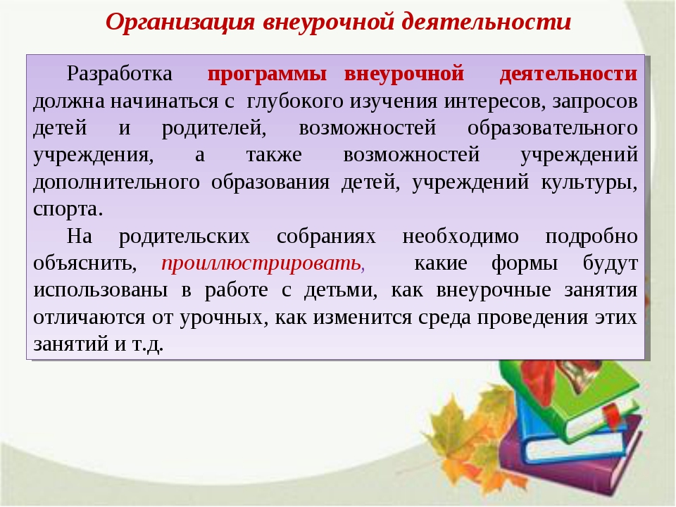 Организация внеурочной деятельности Разработка программы внеурочной деятельно...