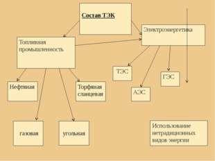 Состав ТЭК Топливная промышленность Электроэнергетика Нефтяная газовая уголь