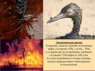 Экологические риски: В мировых запасах горючих ископаемых нефть составляет 10
