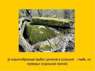 в) корытообразный (выбит целиком в скальной глыбе, но перекрыт отдельной пли