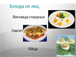 Блюда из яиц Яичница-глазунья Омлет Яйца фаршированные
