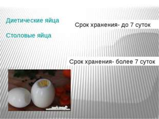 Диетические яйца Столовые яйца Срок хранения- до 7 суток Срок хранения- боле