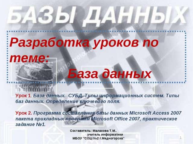 Разработка уроков по теме: База данных * Составитель: Малахова Т.М., учитель...