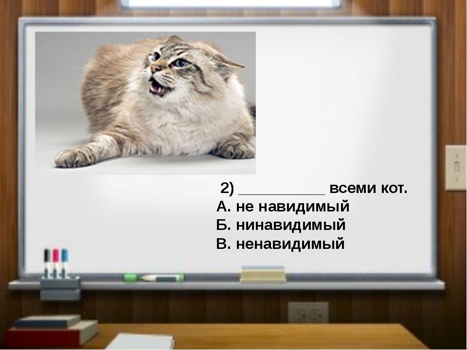 2) __________ всеми кот. А. не навидимый Б. нинавидимый В. ненавидимый