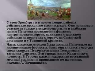 У стен Оренбурга и в прилегающих районах действовало несколько тысяч казахов.