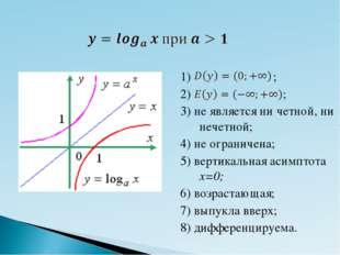 1) ; 2) ; 3) не является ни четной, ни нечетной; 4) не ограничена; 5) вертика