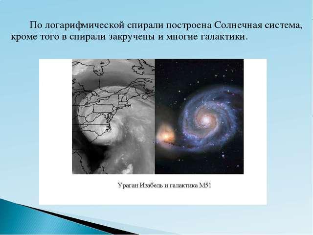 По логарифмической спирали построена Солнечная система, кроме того в спирал...
