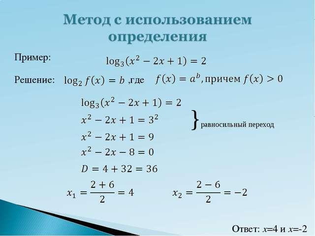 Пример: Решение: ,где }равносильный переход Ответ: x=4 и x=-2