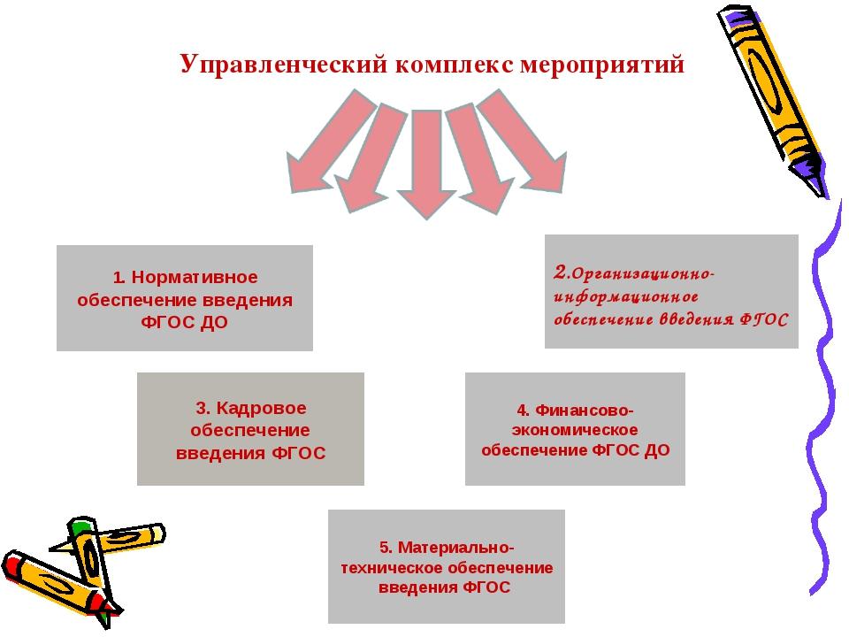 Управленческий комплекс мероприятий 1. Нормативное обеспечение введения ФГОС...