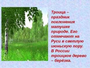 Троица – праздник поклонения матушке природе. Его отмечают на Руси в светлую