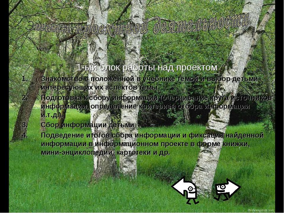 1-ый блок работы над проектом Знакомство с положенной в учебнике темой и выбо...