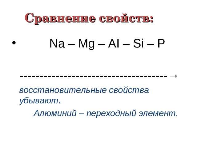 Сравнение свойств: Nа – Мg – АI – Ѕi – Р ------------------------------------...