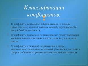 1) конфликты деятельности, возникающие по поводу невыполнения учеником учебны