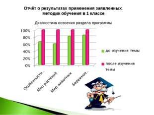 Отчёт о результатах применения заявленных методик обучения в 1 классе Диагно