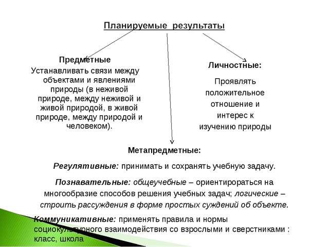 Предметные Устанавливать связи между объектами и явлениями природы (в неживой...