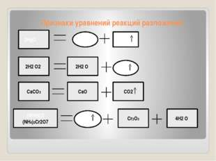 Признаки уравнений реакций разложения 2HgO 2Hg O2 2Н2 O2 2Н2 O О2 CaCO3 CaO C