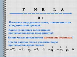0 1 F N R L A Какие из данных точек имеют противоположные координаты? Назовит