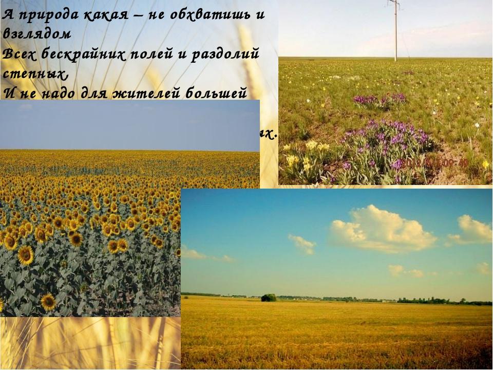 А природа какая – не обхватишь и взглядом Всех бескрайних полей и раздолий с...