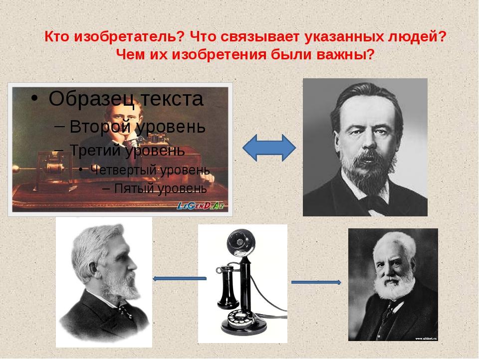 Кто изобретатель? Что связывает указанных людей? Чем их изобретения были важны?