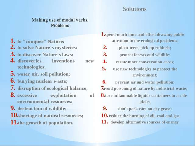 """Making use of modal verbs. Problems to """"conquer"""" Nature: to solve Nature's my..."""