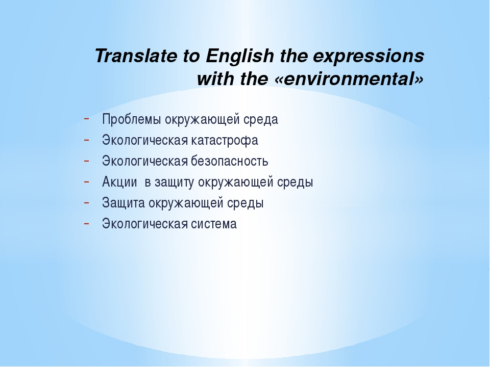 Translate to English the expressions with the «environmental» Проблемы окруж...