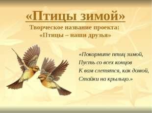 «Птицы зимой» Творческое название проекта: «Птицы – наши друзья» «Покормите п
