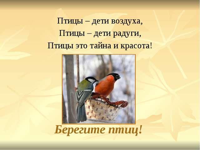 Берегите птиц! Птицы – дети воздуха, Птицы – дети радуги, Птицы это тайна и к...